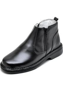 Bota Top Franca Shoes Social Conforto Masculino - Masculino-Preto