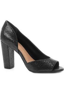 Peep Toe Couro Shoestock Salto Alto Cobra - Feminino-Preto