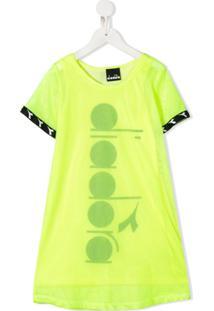 Diadora Junior Vestido Reto De Tela Com Logo - Amarelo