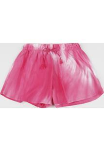 Short Infantil Estampado Tie Dye Rosa