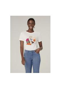 Camiseta Manga Curta Com Estampa - Off White