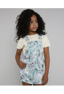 Jardineira Short Saia De Sarja Infantil Estampada Floral Verde Claro