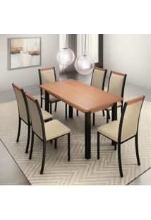 Conjunto De Mesa De Jantar Lizzi Com 6 Cadeiras Estofadas Madeira E Bege