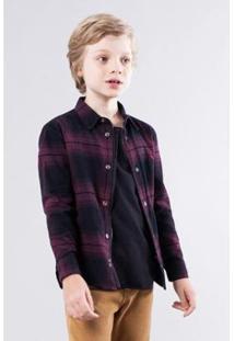 Camisa Infantil Overshirt Xadrez Reserva Mini Masculina - Masculino-Roxo