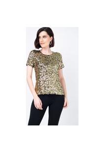 T-Shirt Joulik Bordada Luna - Dourado