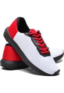 Tênis First Icalçados Masculino Macio Leve Confortavel - Masculino-Branco+Vermelho
