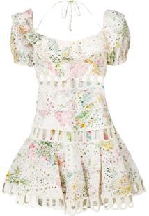 Zimmermann Embroidered Floral Print Dress - Neutro
