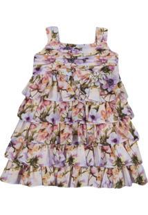 Vestido Quimby Com Alças Em Chiffon Floral Lilas Roxo