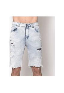 Bermuda Masculina Jeans Destroyed Paint