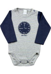 Body Bebê Suedine Ano Zero Listrado Relógio Marinho