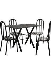Conjunto De Mesa Miami 4 Cadeiras Preto Fosco/Xadrez Fabone Móveis Tubulares