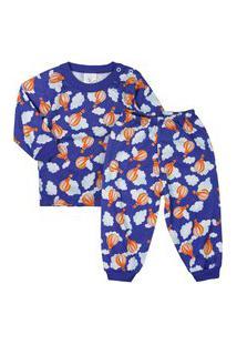 Pijama De Bebê Longo Malha Estampado Royal Azul Royal