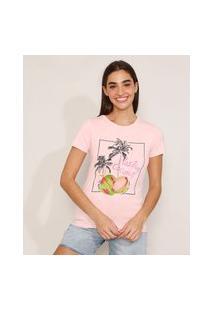 """Camiseta De Algodão Coco Positive Coconut"""" Manga Curta Decote Redondo Rosa Claro"""""""