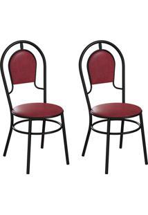 Conjunto Com 2 Cadeiras Hobart Vinho E Preto