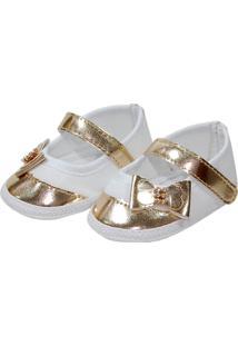 Sapatilha Metalizada Sapatinhos Baby Branca E Dourada
