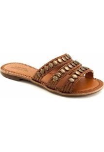 Rasteira Trançada Sapato Show 409 - Feminino-Caramelo