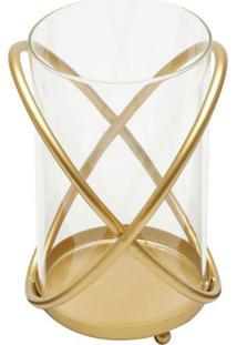Castiçal Átomo Dourado 22X17X15 Cm
