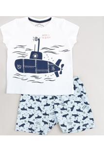 Pijama Infantil Submarino Manga Curta Off White