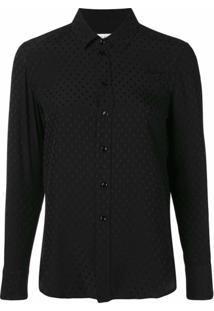 Saint Laurent Camisa De Seda Com Bordado - Preto