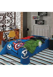 Manta Fleece Solteiro Avengers®- Azul Verde- 150X2Lepper