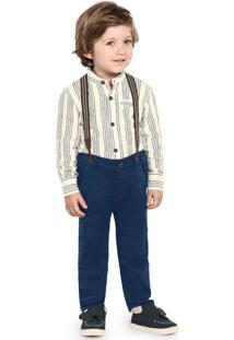 Calça Infantil Com Suspensório Azul
