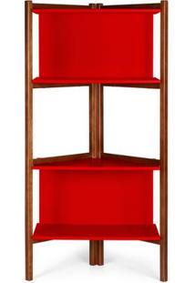 Estante Easy Cor Cacau Com Vermelho - 28990 - Sun House