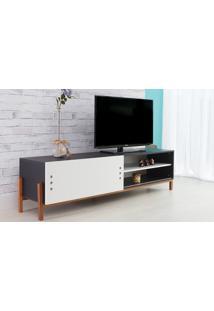 Rack Tv Preto Moderno Vintage Retrô Com Porta De Correr Branca Eric - 186X43,6X48,5 Cm