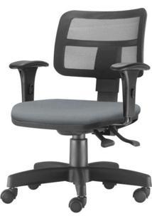 Cadeira Zip Tela Com Bracos Assento Crepe Cinza Base Rodizio Metalico Preto - 54453 Sun House