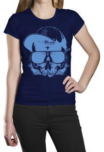 Camiseta Baby Look Hshop Blue Skull - Azul Marinho