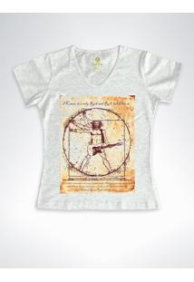 Camiseta Feminina Gola V Rock Cool Tees Guitarra Da Vinci Mescla