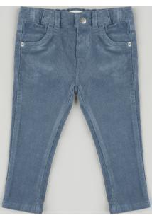 Calça Infantil Em Veludo Cotelê Azul