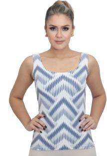 e1817b7f6f Regata Feminina Estampa Exclusiva Summer Ikat Azul Marinho Decote Redondo