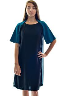 Vestido Muká De Inverno Manga Raglan Azul E Preto