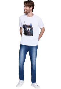 Camiseta C M/C Gola C Silk London M.Officer Branco