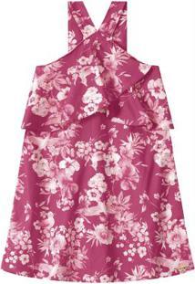 Vestido Rosa Escuro Floral Com Transpasse