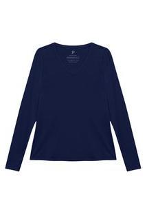 Camiseta Reta Feminina Gola V Manga Longa Azul