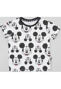 Camiseta Infantil Estampada Mickey Manga Curta Gola Careca Branca 3975a4b304654