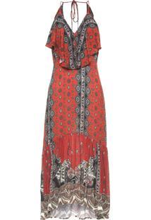 Vestido Longo Leveza Oriental - Laranja