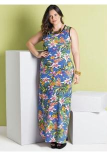Vestido Longo Tropical Plus Size Marguerite