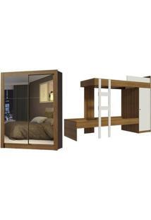 Kit Madesa Guarda-Roupa Infantil Denver Com 2 Portas De Correr + Beliche Larissa