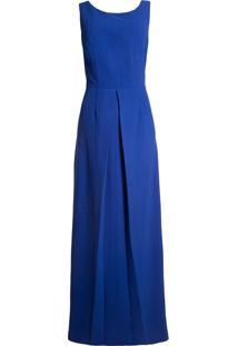 Vestido Longo Cori Laço Costas - Azul