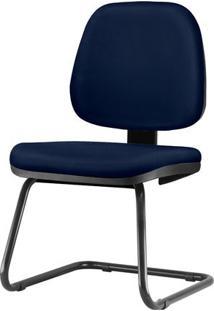 Cadeira Job Assento Crepe Azul Escuro Base Fixa Preta - 54566 Sun House