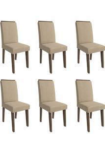 Conjunto Com 6 Cadeiras De Jantar Milena Suede Marrocos E Caramelo