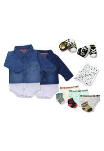 Kit Presente Lindo Body Jeans Roupa Bebê Enxoval Kit 11 Pçs Azul