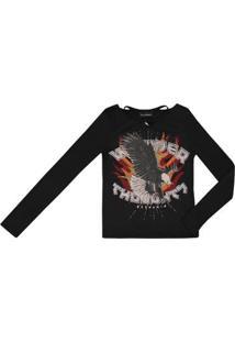 Camiseta Manga Longa Infantil Authoria Peach Feminina - Feminino-Preto