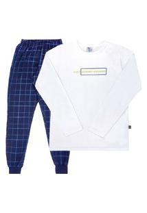 Conjunto Pijama Branco - Juvenil - Menino 12 45191-3 Conjunto Pijama Branco - Juvenil Menino Moletinho Ref:45191-3-12