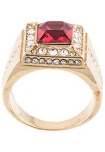 Dolce & Gabbana Anel Quadrado Com Cristal - Dourado