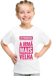 Camiseta Infantil Criativa Urbana Irmã Mais Velha Branca