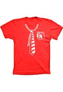 Camiseta Baby Look Lu Geek Gravata Vermelho