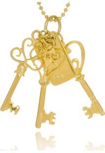 Colar Le Diamond Chaves E Placa Love Dourado